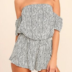 Lulu's Get-Together Black and White Striped Romper